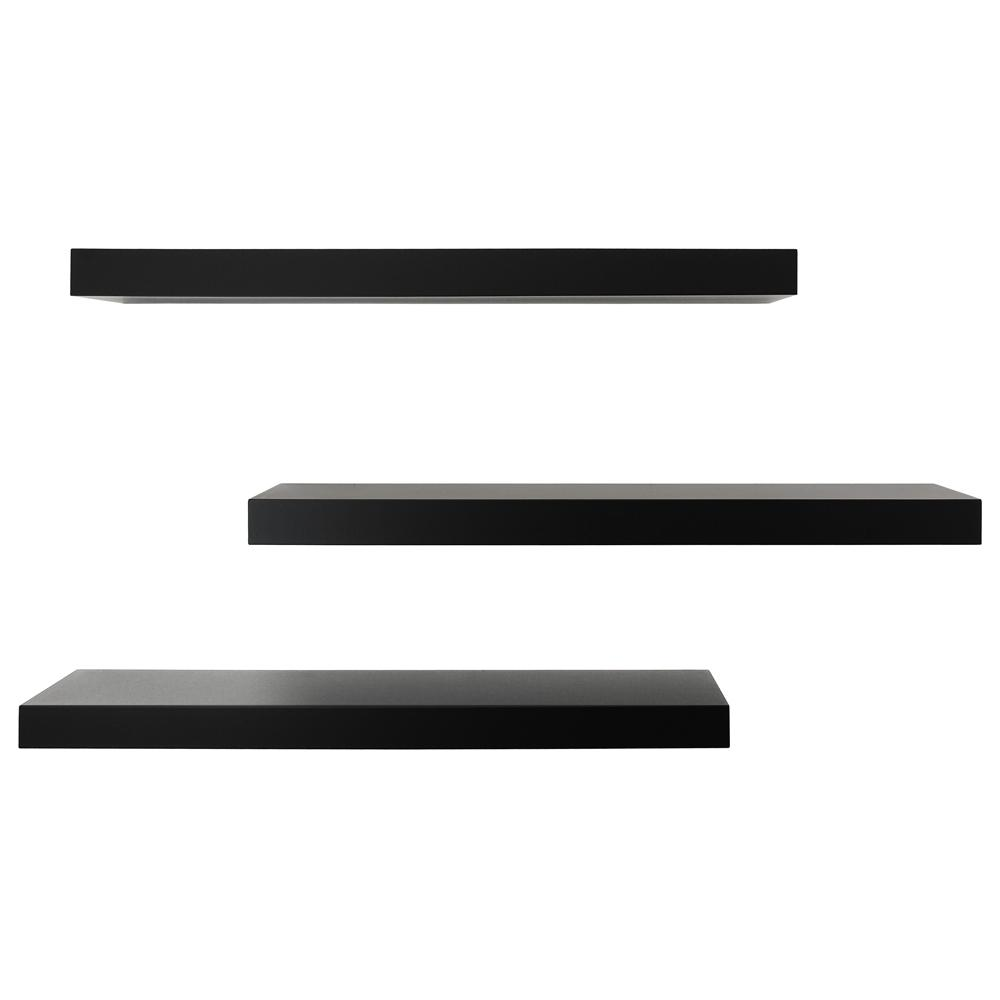 kiera grace maine 24 in. w x 5 in. d black floating wall shelf (pack 3 Wall Shelves
