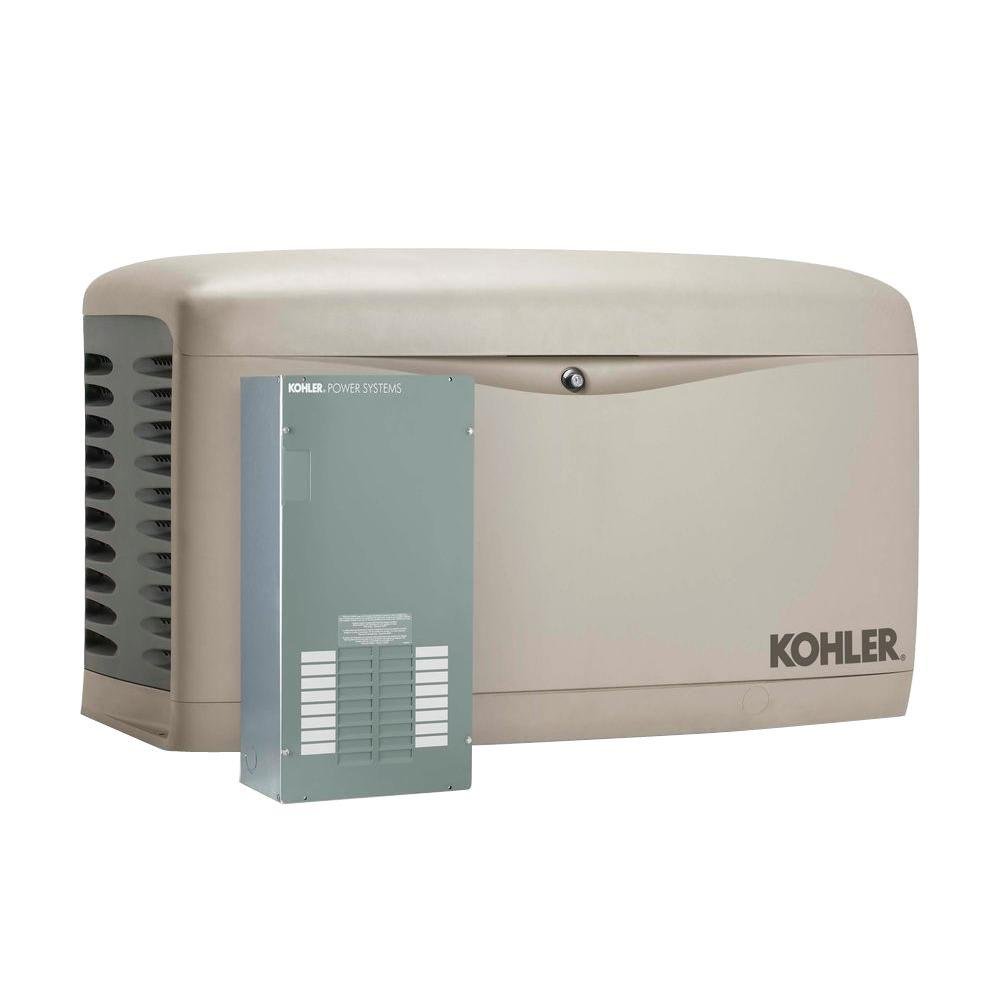 KOHLER 20,000-Watt Air Cooled Standby Generator with 100-Amp 16-Circuit Automatic Transfer Switch