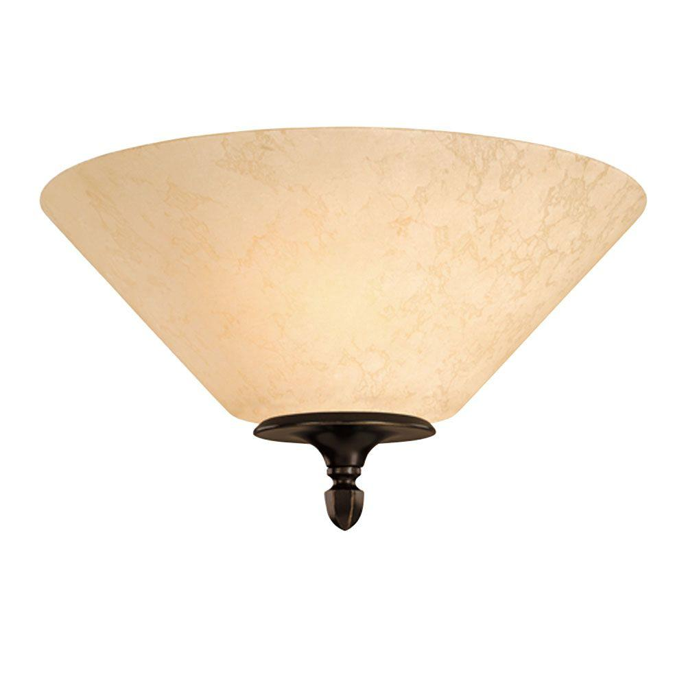 2-Light Ceiling Fixture Burnished Bronze Patina Interior Flush-Mount with Burnt