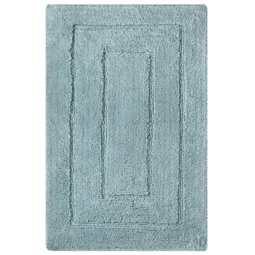 Newport Robin Blue 20 in. x 32 in. Cotton Bath Rug