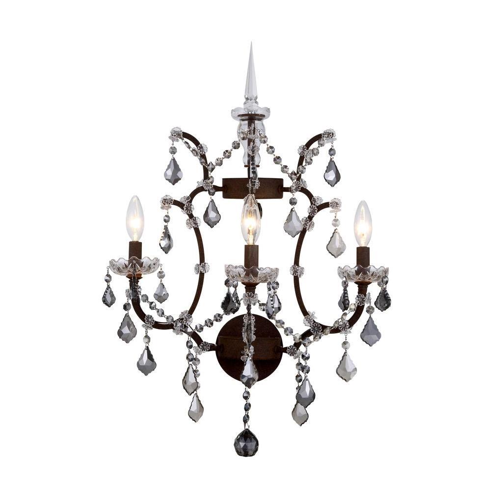Elegant Lighting Elena 3-Light Rustic Intent Royal Cut Silver Shade Wall Sconce