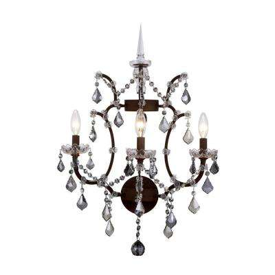 Elena 3-Light Rustic Intent Royal Cut Silver Shade Wall Sconce
