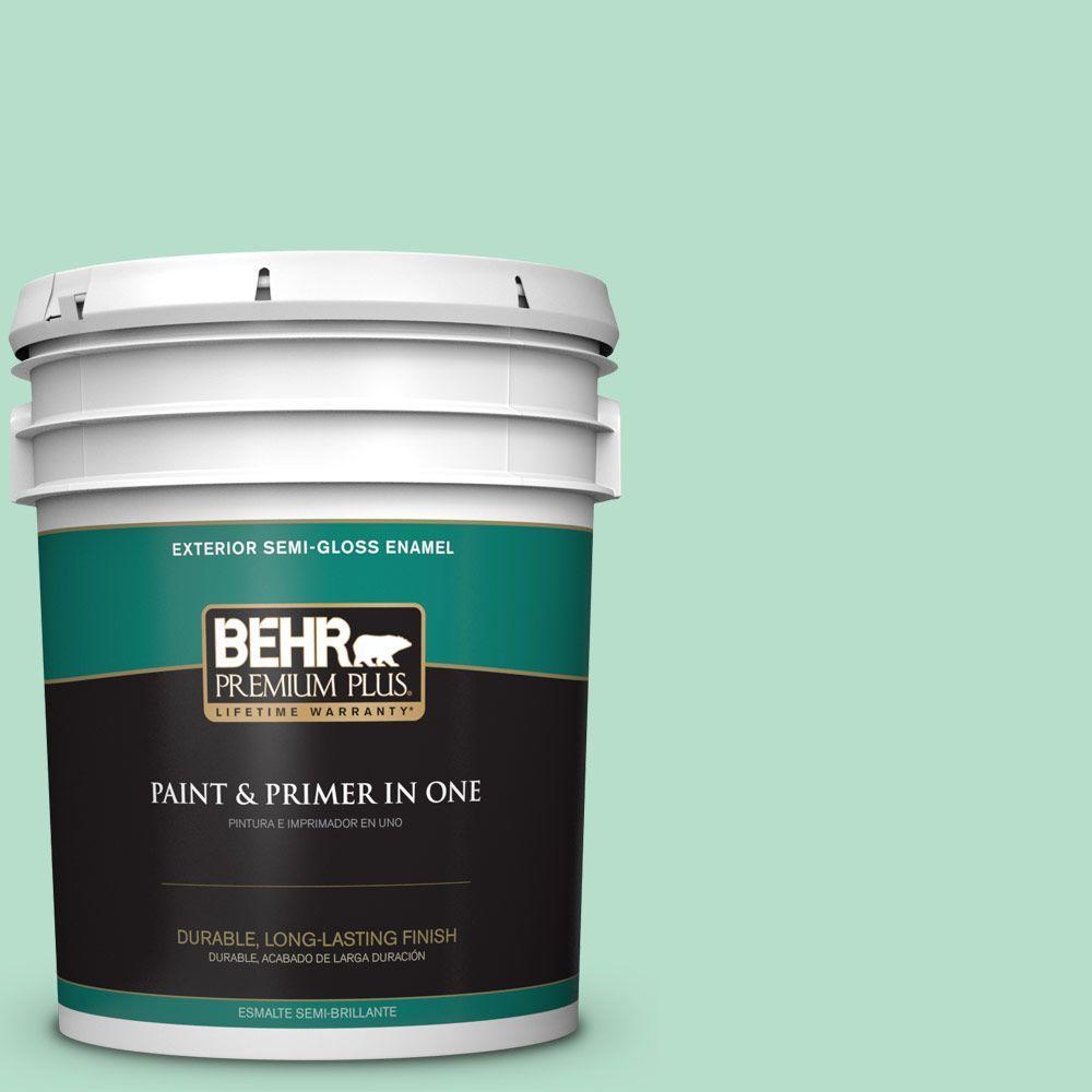 BEHR Premium Plus 5-gal. #480C-3 Aqua Bay Semi-Gloss Enamel Exterior Paint