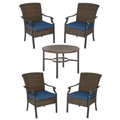 Harper Creek Brown 5-Piece Steel Outdoor Patio Dining Set with CushionGuard Sky Blue Cushions