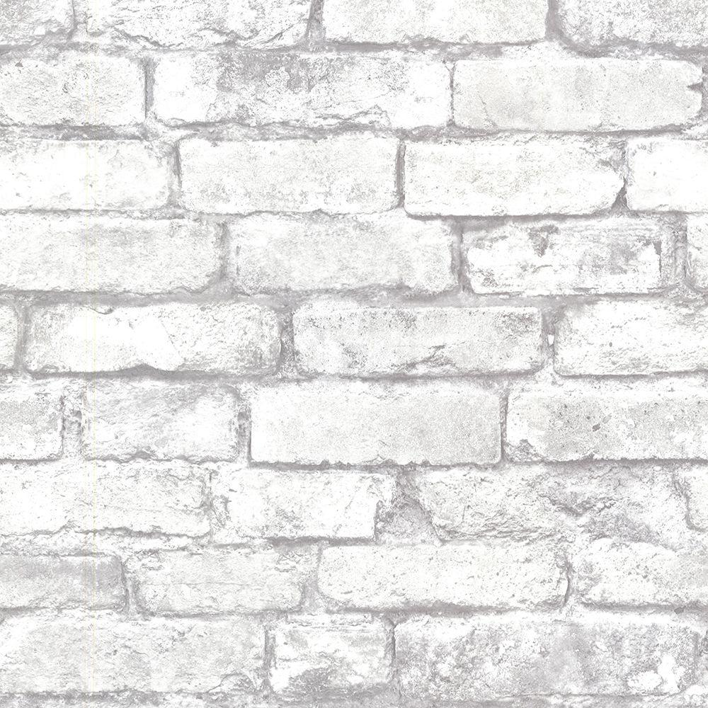Brewster Brewster 56.4 sq. ft. Debs White Exposed Brick Wallpaper, Grey