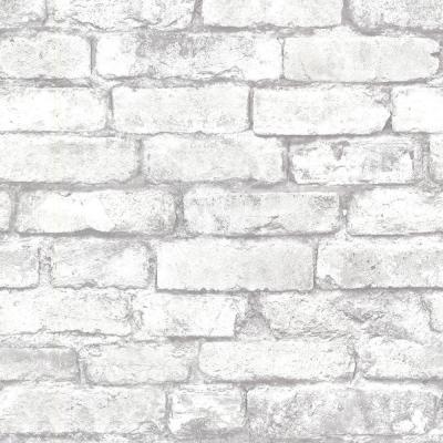 56.4  sq. ft. Debs White Exposed Brick Wallpaper