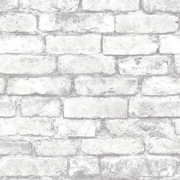 Brewster 56.4  sq. ft. Debs White Exposed Brick Wallpaper