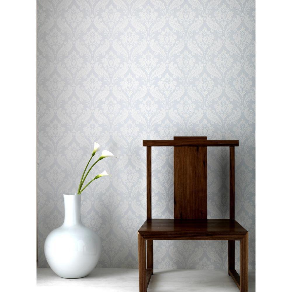 Graham & Brown 56 sq. ft. Vintage Flock White Wallpaper