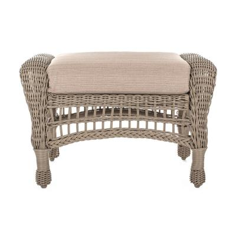 Saturn Wicker Outdoor Ottoman with Beige Cushion