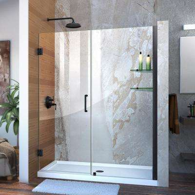 Unidoor 60 in. to 61 in. x 72 in. Frameless Hinged Pivot Shower Door in Satin Black with Handle