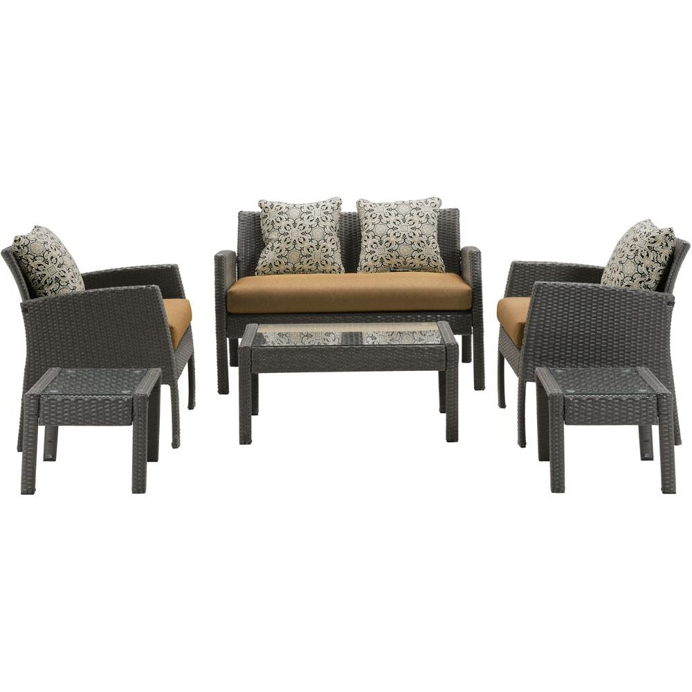 Sophie 6-Piece Wicker Patio Seating Set with Honey Wheat Cushions