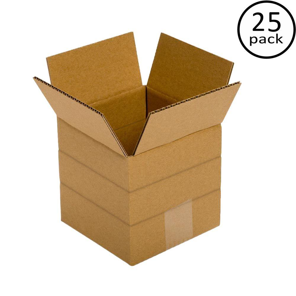 Plain Brown Box 6 in. x 6 in. x 6 in. Multi-depth 25-Box Bundle
