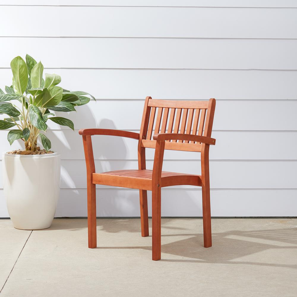 Vifah Malibu Stacking Wood Outdoor Dining Chair (4-Pack)