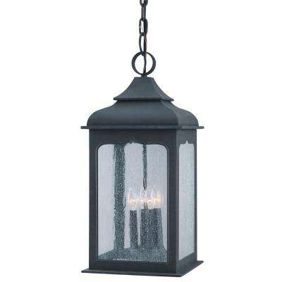 Henry Street 4-Light Colonial Iron Outdoor Pendant