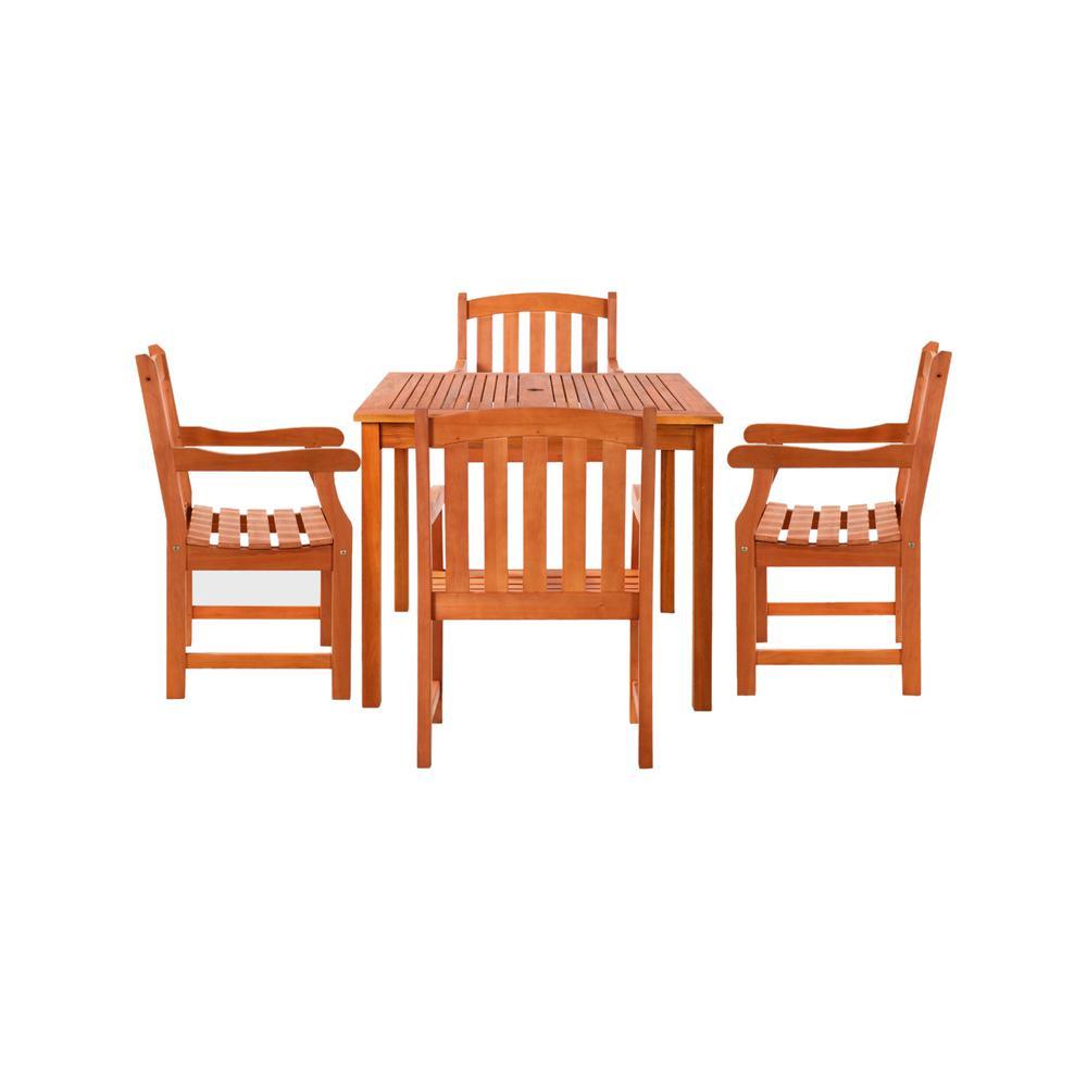 Vifah Patio Furniture.Vifah Malibu 5 Piece Wood Square Outdoor Dining Set V1401set5 The