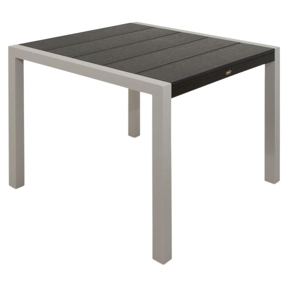 trex outdoor furniture surf city 36 in. textured silver patio dining Charcoal Dining Table