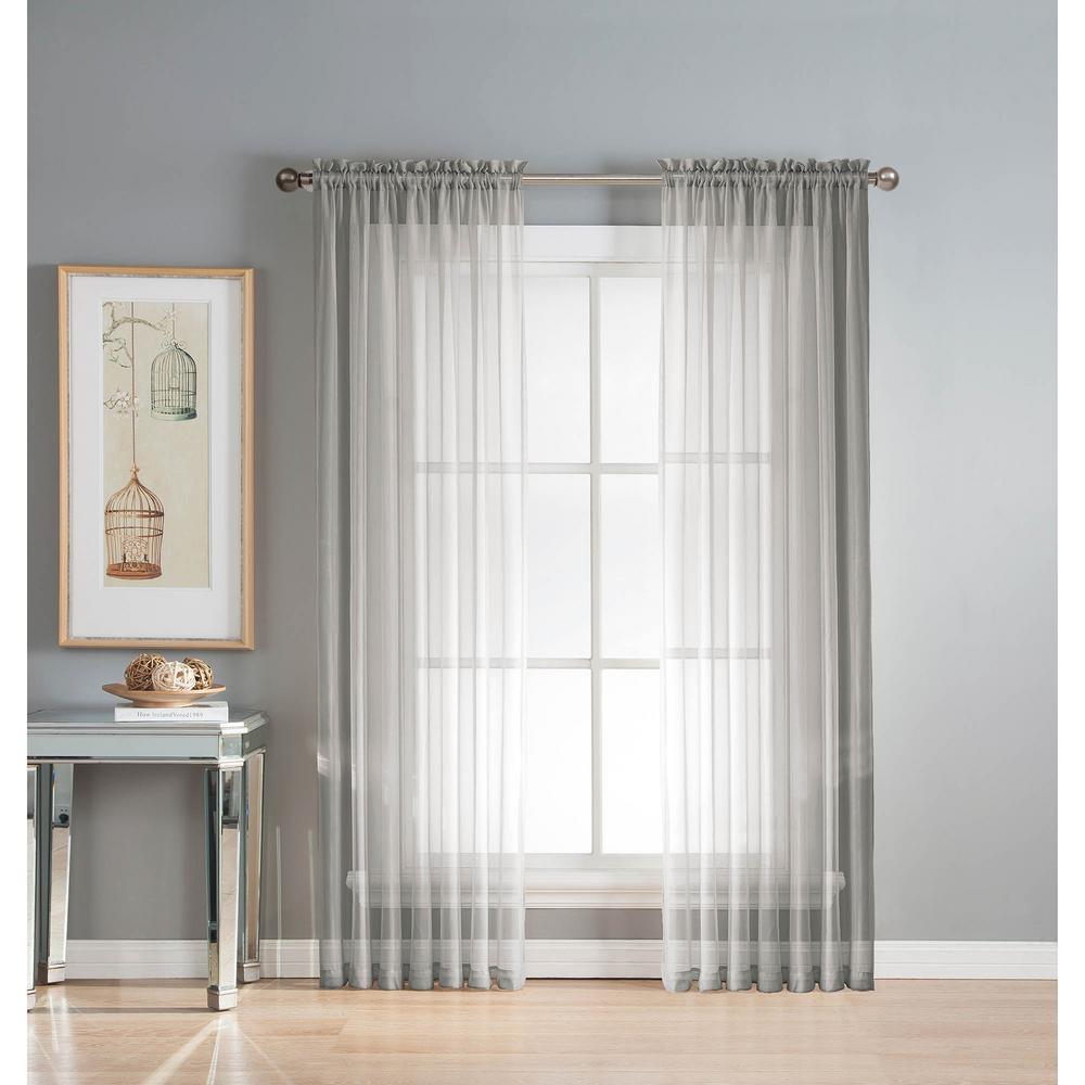 Window Elements Sheer Elegance 84 In L Rod Pocket Curtain Panel Pair Silver
