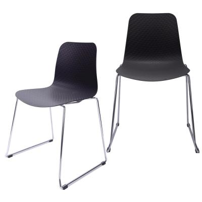 Hebe Series Black Dining Shell Side Chair Molded Plastic with Steel Wire Metal Legs (Set of 2)