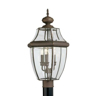 Lancaster 3-Light Outdoor Antique Bronze Post Light with Dimmable Candelabra LED Bulb