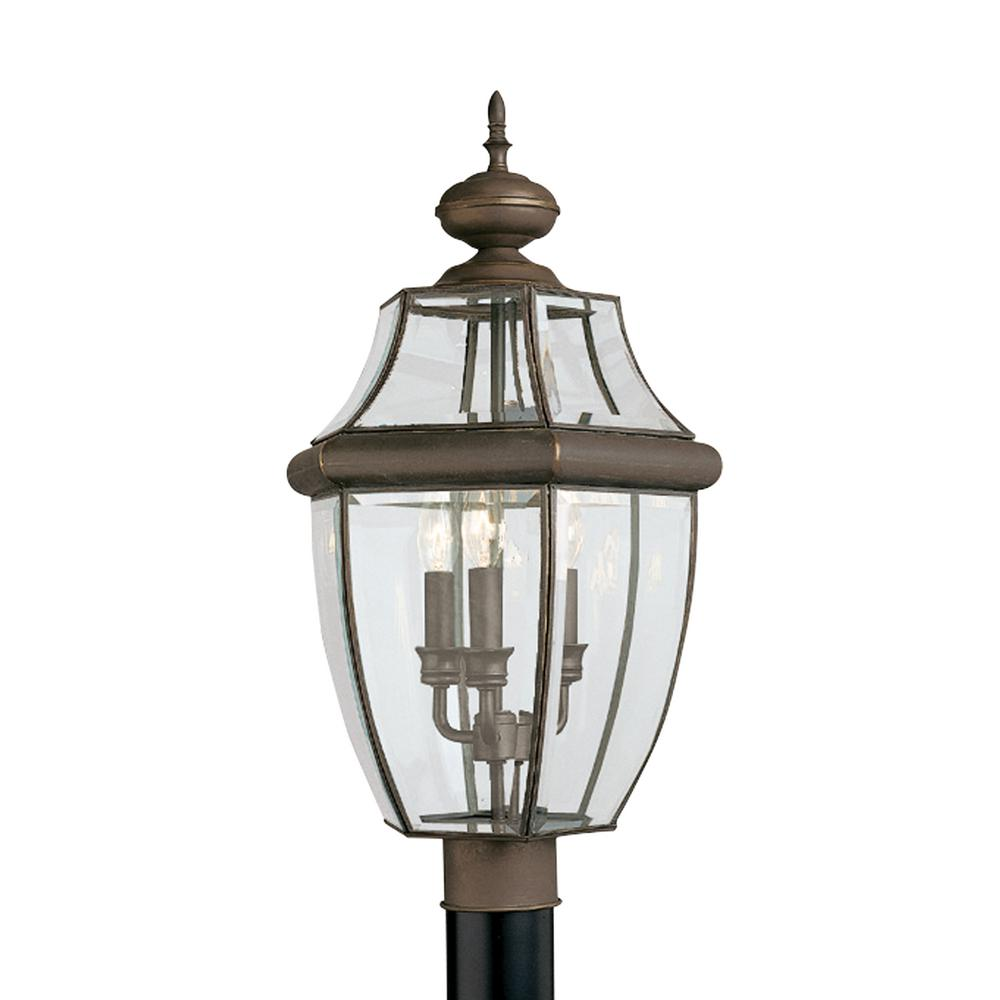 Outdoor Post Lights At Home Depot: Sea Gull Lighting Lancaster 3-Light Outdoor Antique Bronze