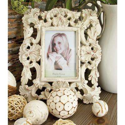 Rustic 1-Opening Vintage White Scrollwork Photo Frames (Set of 2)
