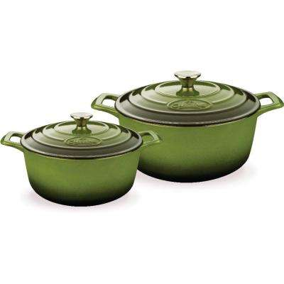 PRO Cast Iron Round Casserole Set with Enamel Finish in Green (4-Piece)