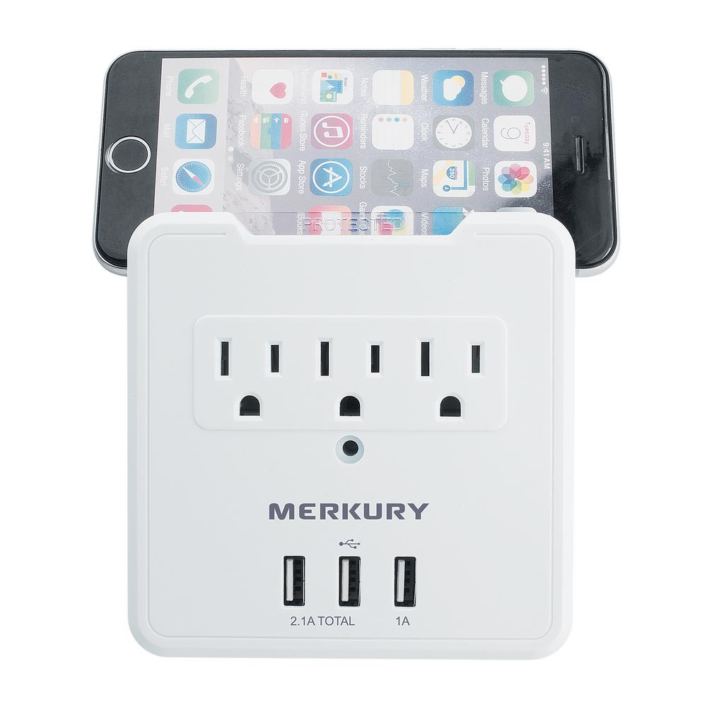 Merkury Innovations 3 AC Outlet and 3 USB 3.1 Amp Wall Surge Protector and Phone Holder