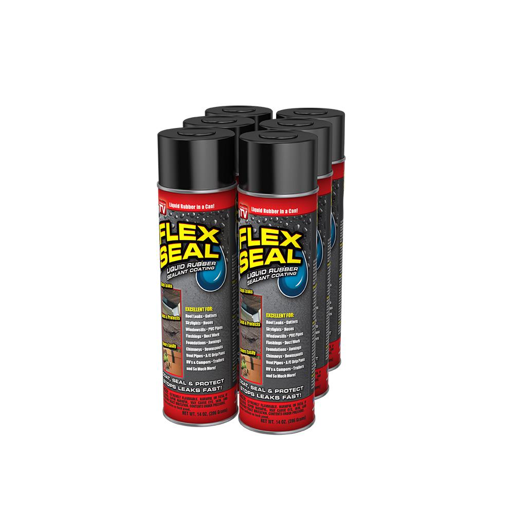 Spray Rubber Seal >> Flex Seal Black 14 Oz Aerosol Liquid Rubber Sealant Spray Coating Cans 6 Piece