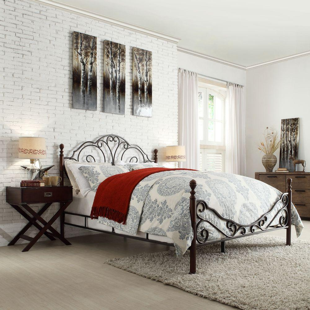 Homesullivan Valencia Bronzed Black And Cherry Full Poster Bed