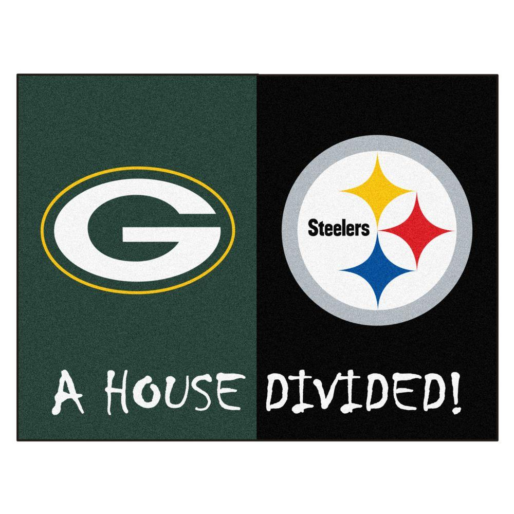 Fanmats Nfl Packers Steelers Green House Divided 2 Ft