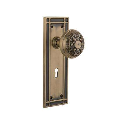 Mission Plate with Keyhole 2-3/4 in. Backset Antique Brass Privacy Bed/Bath Egg and Dart Door Knob