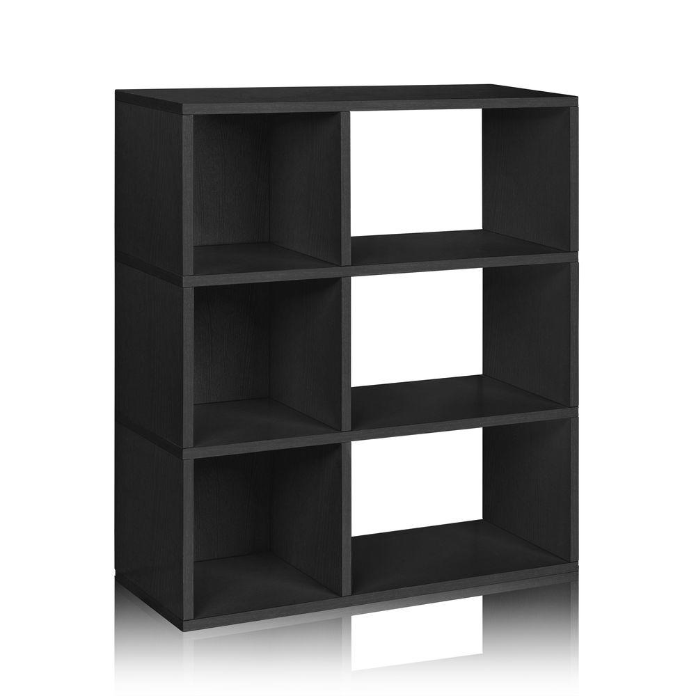 Way Basics Sutton 3-Shelf 12 x 32.1 x 36.8 zBoard Paperboard Eco Bookcase, Tool-Free Assembly Cubby Storage in Black Wood Grain