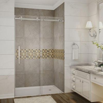 Moselle 48 in. x 75 in. Completely Frameless Sliding Shower Door in Chrome with Clear Glass