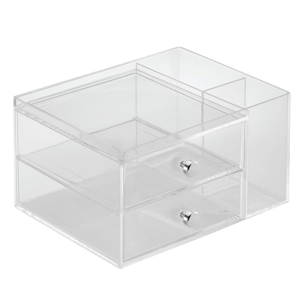 InterDesign Clarity Stacking Drawers With Side Organizer In Clear