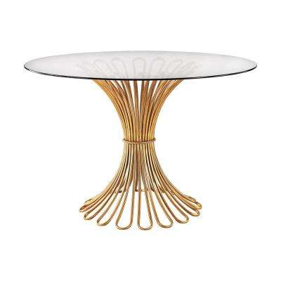 flaired rope gold leaf and clear glass entry table