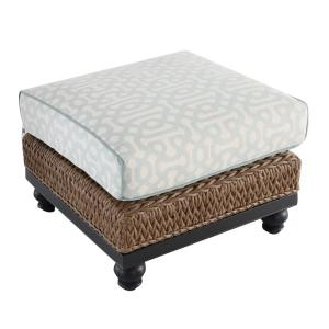 Camden Light Brown Seagrass Wicker Outdoor Patio Ottoman with Sunbrella Cast Spa & Fretwork Mist Cushions