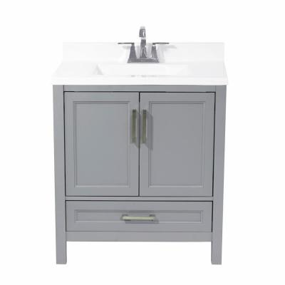 Salerno 31 in. Bath Vanity in Grey with Cultured Marble Vanity Top with Backsplash in White with White Basin