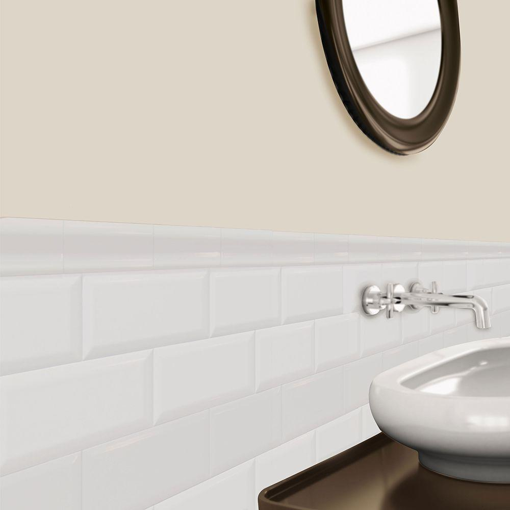 U.S. Ceramic Tile Bright Glazed Snow White 3 in. x 6 in. Ceramic Beveled Edge Wall Tile (10 sq. ft. / case)