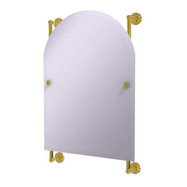 Dottingham Collection Arched Top Frameless Rail Mounted Mirror in Polished Brass