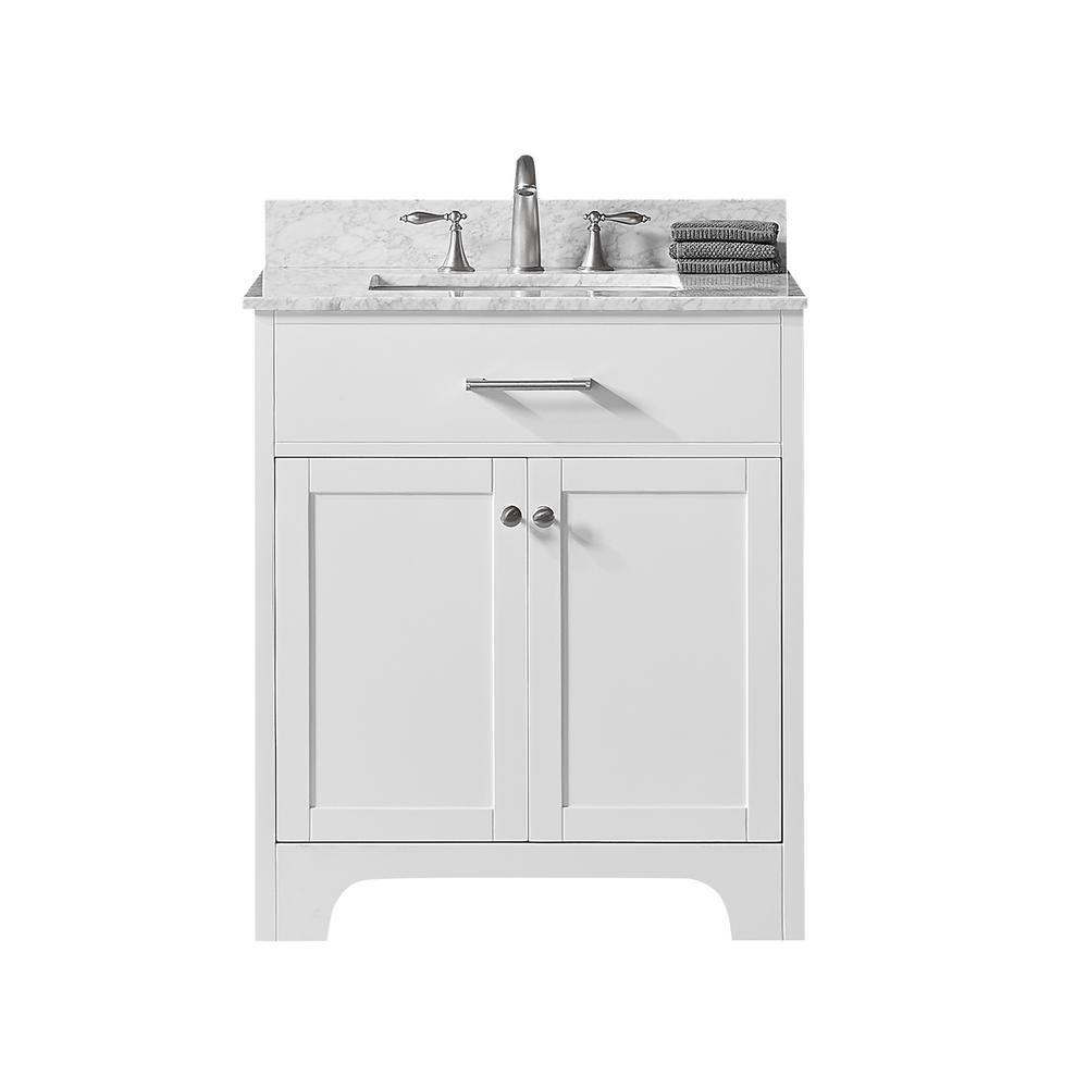 Exclusive Heritage Clariette 30 in. W x 22 in. D x 34.2 in. H Bath Vanity in White w/ Carrara Marble Vanity Top in White w/ White Basin
