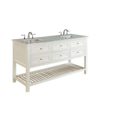 Mission Spa 70 in. Double Vanity in Pearl White with Marble Vanity Top in Carrara White