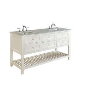 Direct vanity sink Mission Spa 70 inch Double Vanity in Pearl White with Marble Vanity Top in Carrara White by Direct vanity sink