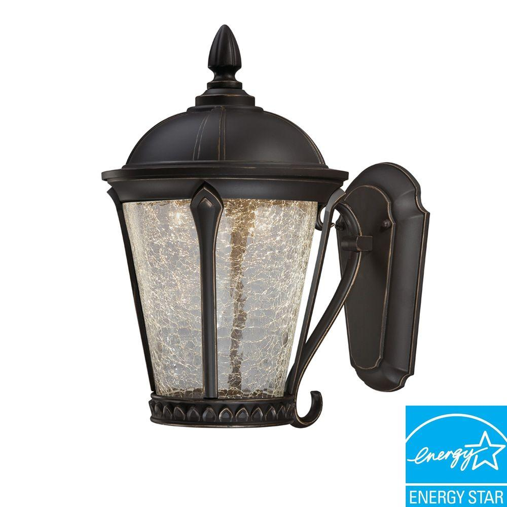Hampton Bay Cottrell Collection Aged Bronze Outdoor LED Powered Wall Mount Lantern