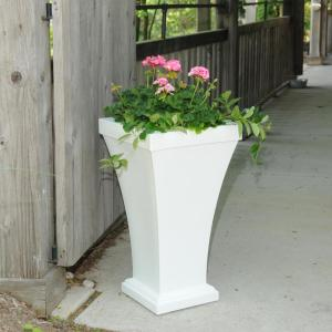 Mayne Bordeaux 28 In White Plastic Tall Planter 5864 W