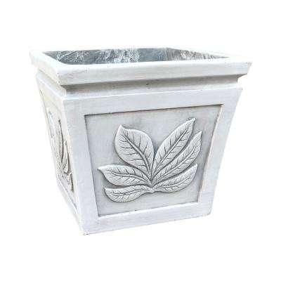 10.24 in. x 10.24 in. x 8.66 in. Light Grey Lightweight Concrete Leaf Embossed Flared Square Seashell Small Planter