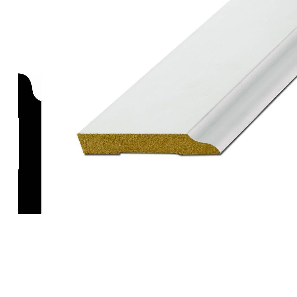 WM663 1/2 in. x 3-1/4 in. Primed MDF Fiberboard Base Moulding