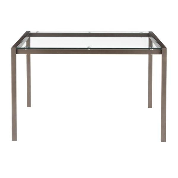 Fuji Antique Metal Industrial Dining Table with Clear Glass Top