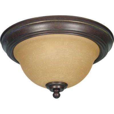 Adria 2-Light Sonoma Bronze Flushmount with Champagne Linen Washed Glass