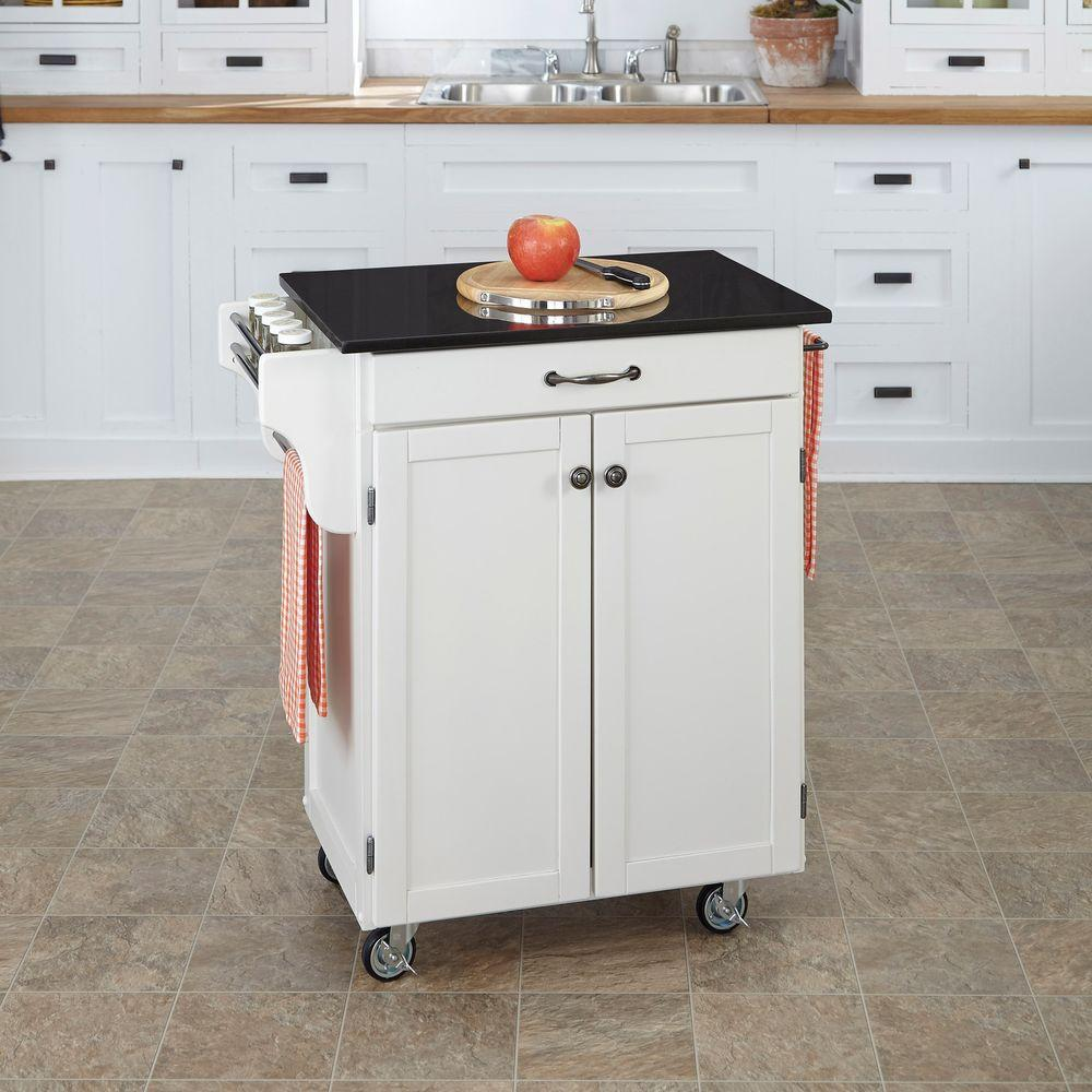 Superieur Home Styles Create A Cart White Kitchen Cart With Black Granite Top