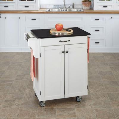 Cuisine Cart White Kitchen Cart with Black Granite Top